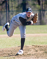 Sophomore, Jordan Cote, of Winnisquam Regional High School pitches a perfect game against Gilford on Friday afternoon 5-0.  Cote's no hitter brings WRHS team standings to 5-0  to date for the 2009 season.  (Karen Bobotas/for the Laconia Daily Sun)