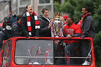 Football - Manchester United Premier League Champions Parade<br /> Javier Hernandez, Edwin Van Der Sar and Patrice Evra laugh on Deansgate, Manchester