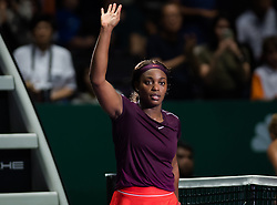 October 25, 2018 - Kallang, SINGAPORE - Sloane Stephens of the United States celebrates winning her second match at the 2018 WTA Finals tennis tournament (Credit Image: © AFP7 via ZUMA Wire)