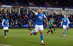 Jonson Clarke-Harris of Peterborough United celebrates scoring his second goal of the game to make it 2-1 - Mandatory by-line: Joe Dent/JMP - 12/12/2020 - FOOTBALL - Weston Homes Stadium - Peterborough, England - Peterborough United v Rochdale - Sky Bet League One