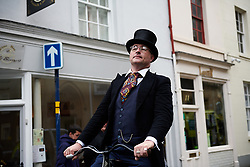 Penny farthing rider in Warwick at Stage 4 of 2019 OVO Women's Tour, a 158.9 km road race from Warwick to Burton Dassett, United Kingdom on June 13, 2019. Photo by Sean Robinson/velofocus.com