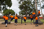 Children playing during break time at the Wema Centre, Mombassa, Kenya. Wema provide a rehabilitation program for street children; poor, disadvantaged youth; and, orphaned and vulnerable children affected by poverty. Emotional support and education enables the children reintegration back into society.