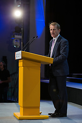 © Licensed to London News Pictures . 07/10/2014 . Glasgow , UK . DAVID LAWS , MP for Yeovil and Minister of State for Schools and the Cabinet Office , speaks . The Liberal Democrat Party Conference 2014 at the Scottish Exhibition and Conference Centre in Glasgow . Photo credit : Joel Goodman/LNP