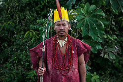 NO WEB/NO APPS - Exclusive. (Text available) Portrait of an Ese-Eja native wearing the traditional clothes of his native community 'Palma Real', near Puerto Maldonado, Peru on July 17, 2017. The Amazon rainforest is famous as 'The Lung of the Earth', but also for the presence of numerous native communities, who have always lived isolated and in close contact with nature for generations, used to seek for food and medicines and to build items directly from the environment in which they live. The unstoppable rise of globalization has drastically changed their needs, expectations and consequently their way of life. Located in the Tambopata National Reserve, on the border between Peru and Bolivia, the native Comunidad Palma Real is one of the clearest examples of this change. Living on the banks of the Madre de Dios River since approximately 1976, Palma Real comprises about 300 people part of the nomadic community Ese-Eja, established in the Amazon rainforest of Peru before the Spanish colonization. Photo by Giacomo d'Orlando/ABACAPRESS.COM