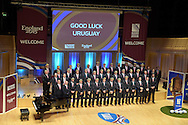 The Uruguay rugby team pose for a photograph on stage.Uruguay 2015 World Cup team welcoming ceremony at the Royal Welsh College of Music and Drama in Cardiff, Wales.on Monday 14th Sept 2015.<br /> pic by Andrew Orchard, Andrew Orchard sports photography.