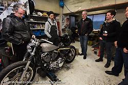 Visit to Hide Motorcycle's shop. (L>R) Harley-Davidson head of design Ray Drea, Hideya Togashi, Stuart Farrell and Ben McGinley. Kawasaki, Japan. Tuesday, December 9, 2014. Photograph ©2014 Michael Lichter.