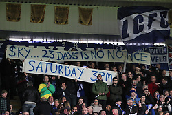 Leicester City fans protest the upcoming fixture change against Arsenal - Mandatory byline: Jack Phillips/JMP - 23/01/2016 - FOOTBALL - King Power Stadium - Leicester, England - Leicester City v Stoke City - Barclays Premier League