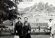 early Japanese domestic tourism posing at a billboard view of Miyajima 1960s