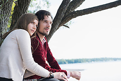 Lake tree young couple portrait relaxing