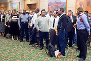 23 February 2009 -- PHOENIX, AZ:  People stand in line to get into a job fair sponsored by National Career Fairs in the Marriott Hotel in Phoenix Monday. More than 1,500 people lined up for a chance to turn in a resume and be interviewed by the 21 firms who had booths at the job fair. According to the US Bureau of Labor Statistics, unemployment in Arizona increased from 3.9 percent in April 2008 to 6.9 percent in December 2008.    Photo By Jack Kurtz / ZUMA Press