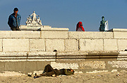 A homeless man lies in the sand near the ornate Triumphal Arch in Praça do Comércio and statue of King José I. With the glory of old Portugal echoed in the architectural arch in the background and the statue of past monarchs in the bronze on the left, we see a modern city will all its problems of immigration and economic hardships for those unable to sustain a good life in this European nation. The Praça do Comércio or Commerce Square is located near the Tagus river, the square is still commonly known as Terreiro do Paço because it was the location of the Paços da Ribeira (Royal Ribeira Palace) until it was destroyed by the great 1755 Lisbon Earthquake. After the earthquake, the square was completely remodelled as part of the rebuilding of the Pombaline Downtown,