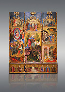 Gothic altarpiece tableau of the Archangel Gabriel  by Joan Mates of Vlafranca de Penedes, circa 1410-1430, tempera and gold leaf on for wood from the church of Santa Maria de Penafel, Alt Penedes, Spain.  National Museum of Catalan Art, Barcelona, Spain, inv no: MNAC  214533. .<br /> <br /> If you prefer you can also buy from our ALAMY PHOTO LIBRARY  Collection visit : https://www.alamy.com/portfolio/paul-williams-funkystock/gothic-art-antiquities.html  Type -     MANAC    - into the LOWER SEARCH WITHIN GALLERY box. Refine search by adding background colour, place, museum etc<br /> <br /> Visit our MEDIEVAL GOTHIC ART PHOTO COLLECTIONS for more   photos  to download or buy as prints https://funkystock.photoshelter.com/gallery-collection/Medieval-Gothic-Art-Antiquities-Historic-Sites-Pictures-Images-of/C0000gZ8POl_DCqE