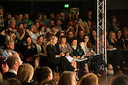 SARAH BURTON; HILARY ALEXANDER; SUSY MENKES, WATCHING Central Saint Martins - BA catwalk show,  York Hall, Old Ford Road, Bethnal Green, London. London fashion college presents showcase of BA students' graduate collections. 31 May 2011. <br /> <br />  , -DO NOT ARCHIVE-© Copyright Photograph by Dafydd Jones. 248 Clapham Rd. London SW9 0PZ. Tel 0207 820 0771. www.dafjones.com.