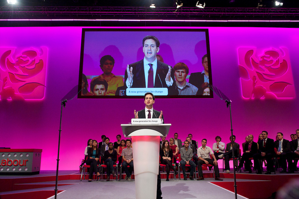 Ed Miliband addresses delgates with his leader's speech during the Labour Party Conference in Manchester on 28 September 2010.