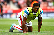 Glen Johnson of Stoke City warms up prior to kick off. Barclays Premier League match, Stoke city v West Bromwich Albion at the Britannia stadium in Stoke on Trent, Staffs on Saturday 29th August 2015.<br /> pic by Chris Stading, Andrew Orchard sports photography.