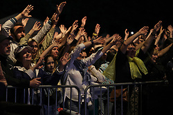May 26, 2019 - Kyiv, Ukraine - Spectators watch the Okean ne movchyt! (Okean Don't Keep Silent!) concert of the Okean Elzy rock band at the National Complex Expocentre of Ukraine (VDNG) on the Kyiv Day, Kyiv, capital of Ukraine, May 26, 2019. Recently, lead vocalist Sviatoslav Vakarchuk singer announced the creation of the Holos (Voice) party, which is set to run for parliament seats in the upcoming early election. Ukrinform. (Credit Image: © Danil Shamkin/Ukrinform via ZUMA Wire)