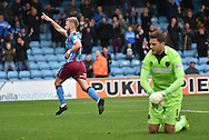 Paddy Madden of Scunthorpe United celebrates scoring the penalty to go 2-1 up during the Sky Bet League 1 match between Scunthorpe United and Shrewsbury Town at Glanford Park, Scunthorpe, England on 17 October 2015. Photo by Ian Lyall.