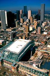 Stock photo of an aerial of Minute Maid Field (Enron Field at Time of Photo) Construction Site and the Houston Texas skyline