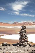 Stone Cairn, Pujsa Salt Lake, Atacama Desert. Chile, South America