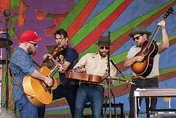 May 3, 2018 - New Orleans, Louisiana, U.S - CRITTER FUQUA, KETCH SECOR and CHANCE MCCOY of Old Crow Medicine Show during 2018 New Orleans Jazz and Heritage Festival at Race Course Fair Grounds in New Orleans, Louisiana (Credit Image: © Daniel DeSlover via ZUMA Wire)