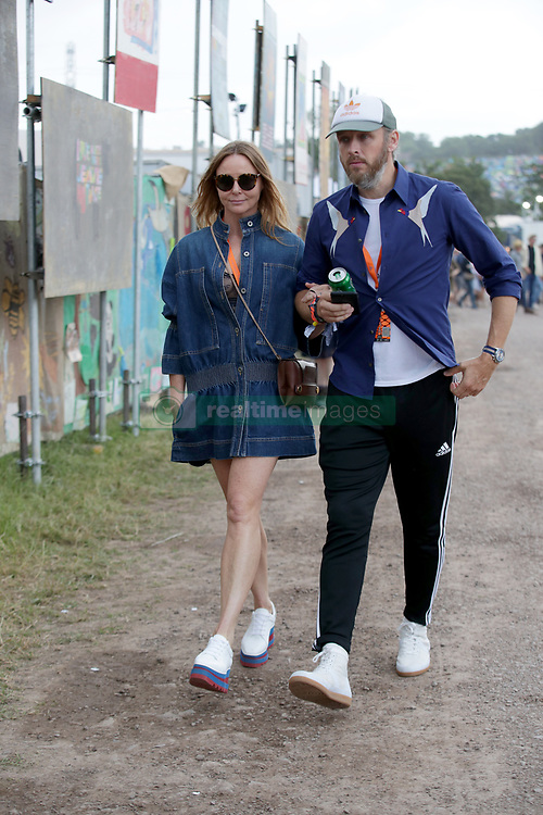 Stella McCartney and husband Alasdhair Willis are seen at the Glastonbury Festival, at Worthy Farm in Somerset.