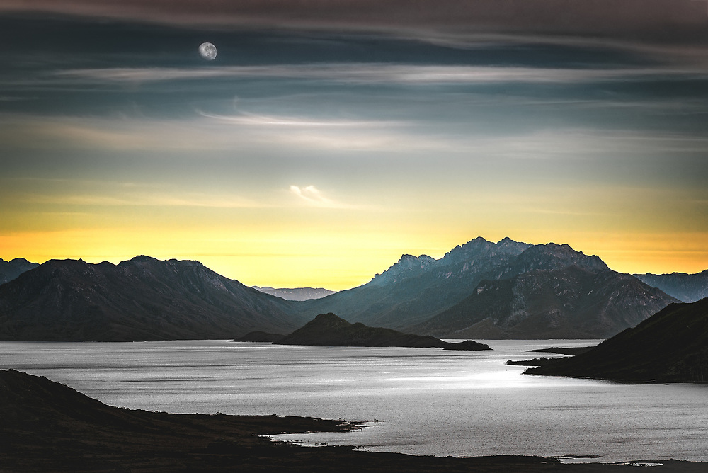 View of Lake Pedder from mt Anne in Southwest Tasmania