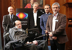 (left to right) Professor Claude Nicollier, Professor Stephen Hawking, Professor Edvard Moser, Omega president Raynald Aeschlimann and Professor Garik Israelian at The Royal Society in London during a press conference previewing the Starmus science and arts festival taking place in Norway next month.