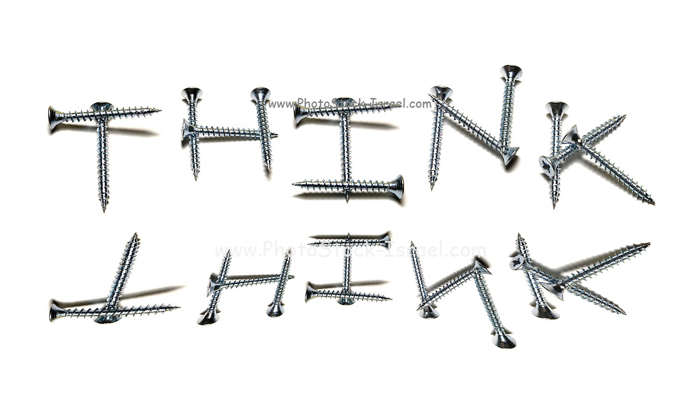 The word think created from screws on white back ground