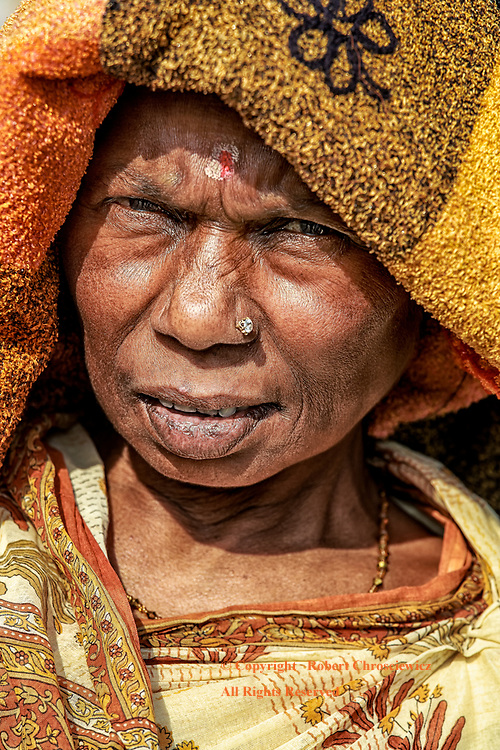 Indian Woman: A weather worn face of an Indian woman, Calcutta - Kolkata India.