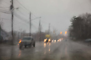 View through a car window of Montgomery in a rainstorm on 3rd March 2020 in Montgomery, Alabama, United States.