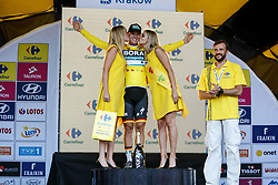 August 4, 2018 - Krakow, Poland - Pascal Ackermann receives a yellow jersey after winning the first stage of Tour the Pologne in Krakow, Poland on August 4, 2018. (Credit Image: © Dominika Zarzycka/NurPhoto via ZUMA Press)