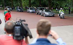 © Licensed to London News Pictures. 13/07/2016. London, A police convoy carrying British prime minister David Cameron, returns to 10 Downing Street in London after prime ministers questions, on his last day as British prime minister with Theresa May due to be sworn in as the new British prime minister. Photo credit: Ben Cawthra/LNP