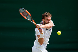 July 9, 2018 - London, England, U.S. - LONDON, ENG - JULY 09: ERNESTS GULBIS (LAT) during day seven match of the 2018 Wimbledon on July 9, 2018, at All England Lawn Tennis and Croquet Club in London,England. (Photo by Chaz Niell/Icon Sportswire) (Credit Image: © Chaz Niell/Icon SMI via ZUMA Press)