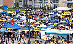 Sep 22, 2018; Morgantown, WV, USA; West Virginia Mountaineers fans tailgate before the game against the Kansas State Wildcats at Mountaineer Field at Milan Puskar Stadium. Mandatory Credit: Ben Queen-USA TODAY Sports