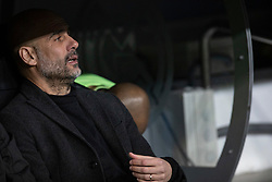 Manchester City's coach Pep Guardiola during the UEFA Champions League round of 16 first leg match Real Madrid v Manchester City at Santiago Bernabeu stadium on February 26, 2020 in Madrid, Sdpain. Real was defeated 1-2. Photo by David Jar/AlterPhotos/ABACAPRESS.COM