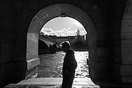 France. Paris. 1st district . under the caroussel bridge. The Seine river and Paris city center view from the quay du Louvre along the Seine river
