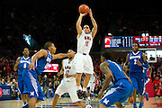 DALLAS, TX - FEBRUARY 01: Nic Moore #11 of the SMU Mustangs shoots the ball over the Memphis Tigers on February 1, 2014 at Moody Coliseum in Dallas, Texas.  (Photo by Cooper Neill/Getty Images) *** Local Caption *** Nic Moore