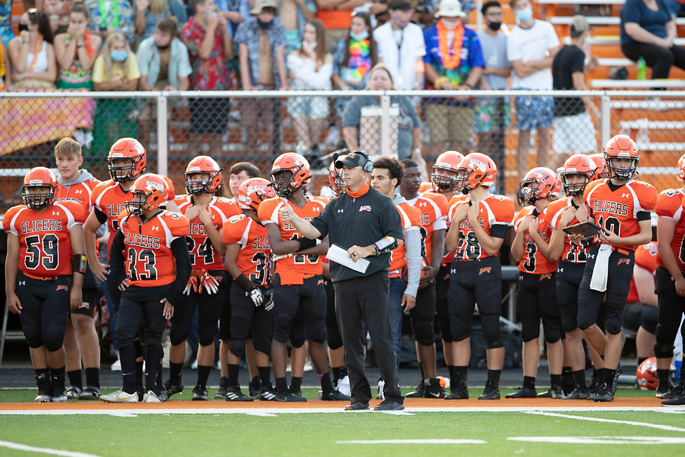 LaPorte players on the sidelines encourage theiir teammates during the Penn-LaPorte high school football game on Friday, August 28, 2020, at Kiwanis Field in LaPorte, Indiana.