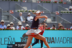 May 6, 2019 - Madrid, Spain - Kristina Mladenovic (FRA) in her match against Petra Kvitová (CZE) during day three of the Mutua Madrid Open at La Caja Magica in Madrid on 6th May, 2019. (Credit Image: © Juan Carlos Lucas/NurPhoto via ZUMA Press)