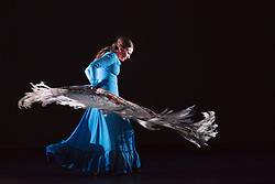 "© Licensed to London News Pictures. 23/06/2015. London, UK. Carmen Rivas ""La Talegona"" performing Granaína. Paco Peña Dance Company perform the UK premiere of ""Flamencura"" at Sadler's Wells Theatre. The flamenco show runs from 20 to 28 June 2015 and features six musicians and three dancers.Photo credit: Bettina Strenske/LNP"