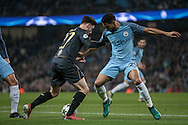 Patrick Roberts (Celtic) tries to go past Gaël Clichy (Manchester City) during the Champions League match between Manchester City and Celtic at the Etihad Stadium, Manchester, England on 6 December 2016. Photo by Mark P Doherty.