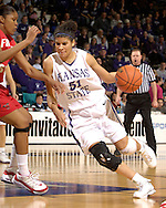 Kansas State forward Marlies Gipson (51), drives the lane against pressure from Fresno State's Andrea Roberson (L), during the second half at Bramlage Coliseum in Manhattan, Kansas, March 22, 2006.  K-State defeated the Bulldogs 64-61 in the second round of the WNIT.