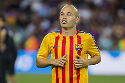August 13, 2017 - Barcelona, Catalonia, Spain - Andres Iniesta before the match between FC Barcelona - Real Madrid, for the first leg of the Spanish Supercup, held at Camp Nou Stadium on 13th August 2017 in Barcelona, Spain. (Credit Image: © Urbanandsport/NurPhoto via ZUMA Press)