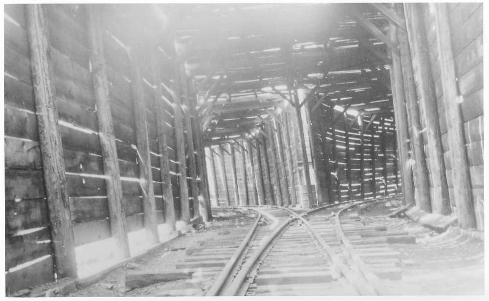 Interior of RGS Lizard Head wye snowshed showing the north turnout, tail to the left, mainline to the right.<br /> RGS  Lizard Head, CO  Taken by Maxwell, John W.<br /> Also at RD137-085 and RDS076-081.<br /> Thanks to Don Bergman for additional information.