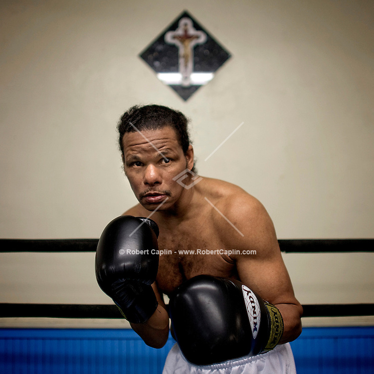 Boxer Saoul Mamby, 60, who still tries to box professionally at John's Gym in the Bronx, NY.