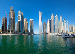 Daytime skyline of skyscrapers in Marina District of Dubai United Arab Emirates