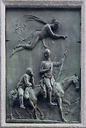 Details of Miguel de Cervantes Saavedra's statue near the Spanish Congress of Deputies in Madrid, Spain