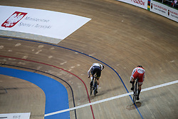 March 2, 2019 - Pruszkow, Poland - Matthew Glaetzer (AUS) and Tomohiro Fukaya (JPN) compete in the Men's sprint qualifying race on day four of the UCI Track Cycling World Championships held in the BGZ BNP Paribas Velodrome Arena on March 02 2019 in Pruszkow, Poland. (Credit Image: © Foto Olimpik/NurPhoto via ZUMA Press)