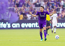 April 8, 2018 - Orlando, FL, U.S. - ORLANDO, FL - APRIL 08: Orlando City midfielder Sacha Kljestan (16) fires up the fans as thee game is now even at 2 goals each during the MLS soccer match between the Orlando City FC and the Portland Timbers at Orlando City SC on April 8, 2018 at Orlando City Stadium in Orlando, FL. (Photo by Andrew Bershaw/Icon Sportswire) (Credit Image: © Andrew Bershaw/Icon SMI via ZUMA Press)
