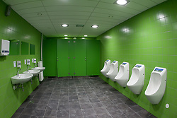 Bathroom for players in a Basketball arena. A week before the opening of a new football stadium and sports arena in Stozice, on August 4, 2010, in Stozice, Ljubljana, Slovenia.  (Photo by Vid Ponikvar / Sportida)
